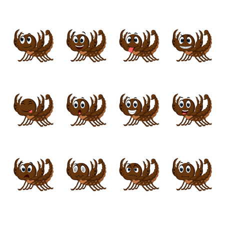Scorpion with different facial expressions illustration.
