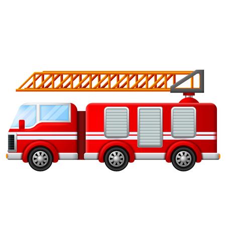 Camión de bomberos con escalera en la ilustración de fondo blanco