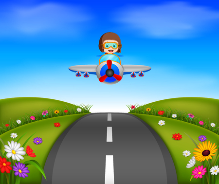 Young boy riding a plane on a beautiful scene Illustration
