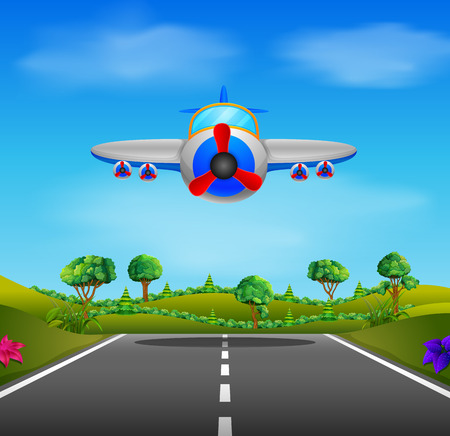 Showing a flying plane landing illustration design Banque d'images - 100483665