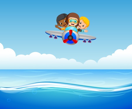 Three boys riding plane over sea illustration