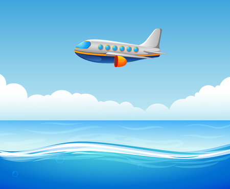 A commercial plane flying over sea illustration