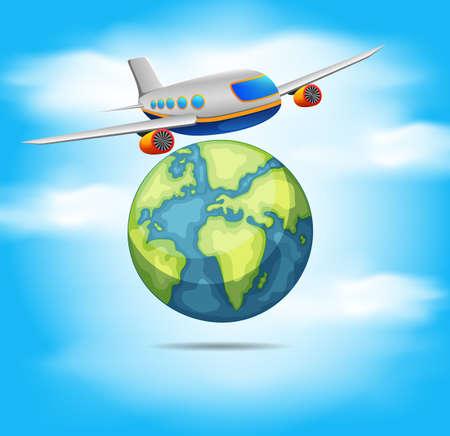 Airplane flying around the world Illustration