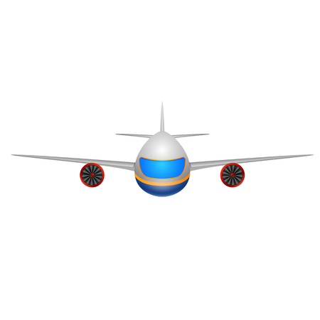 Illustration of a front view of a plane on a white background