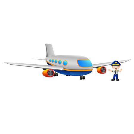 Pilot and airplane icon