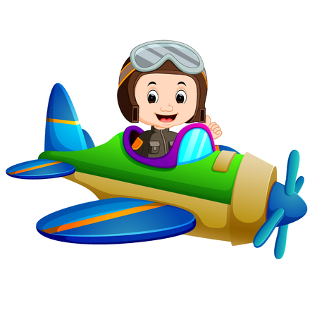 Pilot riding flying plane icon Çizim