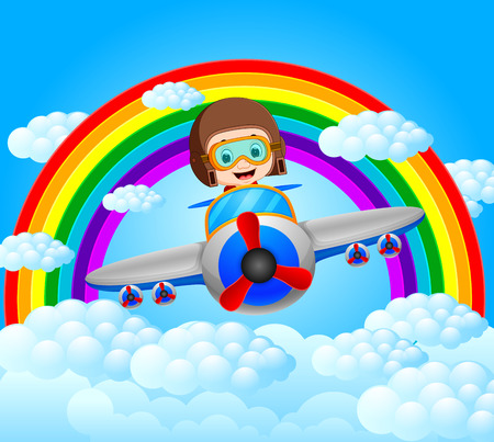 Funny pilot riding plane with rainbow scenery Illustration