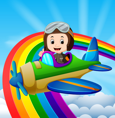 Funny pilot riding plane over rainbow