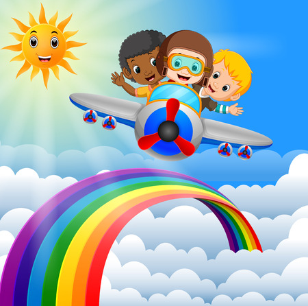 Funny kids riding plane over rainbow