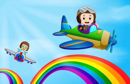 Two airplane flying over rainbow