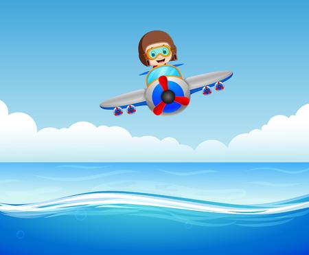 Boy riding plane over sea