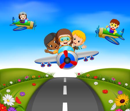 happy kids riding on a plane