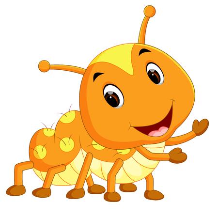 a yellow caterpillar cartoon Illustration