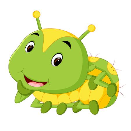 a green caterpillar cartoon
