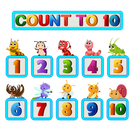Many insect and numbers one to ten Illustration