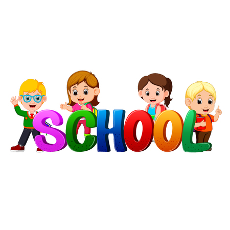Font design for word school with teacher and students