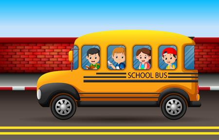 many children on a school bus