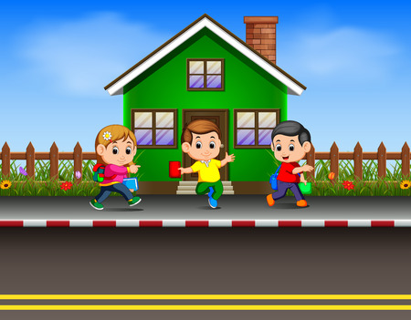 the children going to school