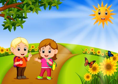 kids go to school with scenery beautiful garden