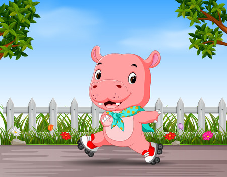 funny hippo playing roller skate in the road  イラスト・ベクター素材