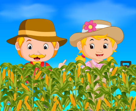 two farmers in a corn field