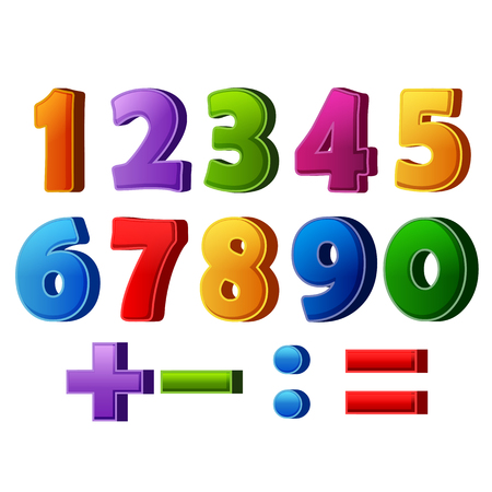 colorful numbers and mathematical operations Stock Photo