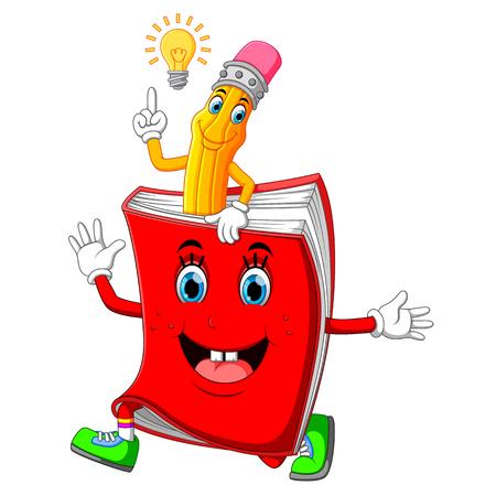 Cute pencil cartoon with book