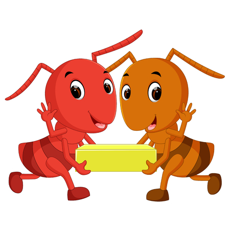 Cartoon ants holding cheese slice Çizim
