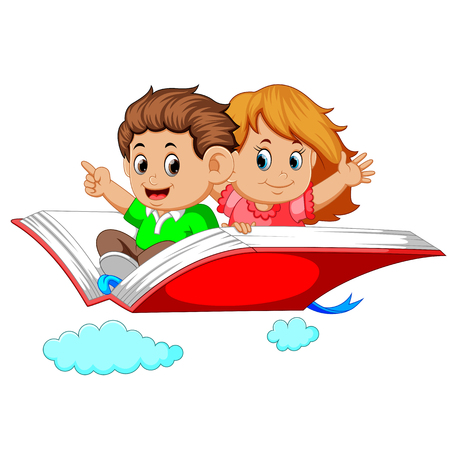 happy kids flying on big open book Illustration