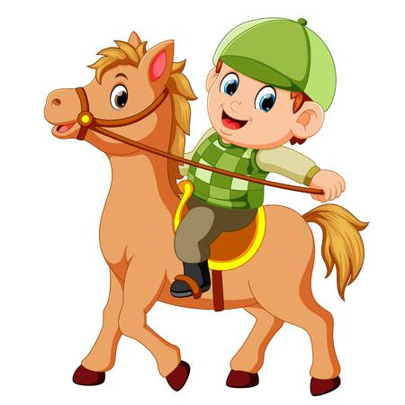 Weinig jongen die een pony-paard berijdt