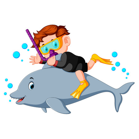 Boy diving with dolphin Иллюстрация
