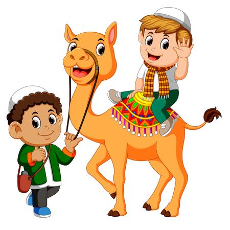 Little kid riding camel Vectores