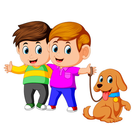 two boys with pet dog