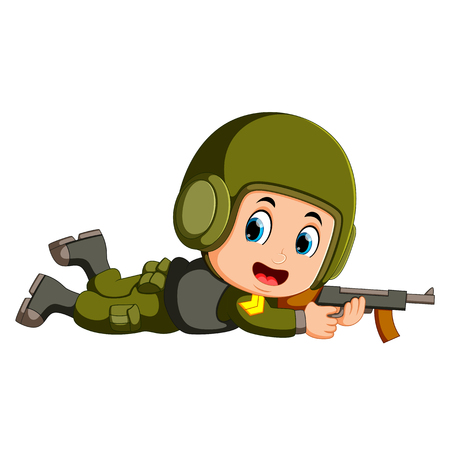 soldier with a gun in action Illustration
