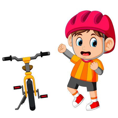 A Boy posing with a bicycle