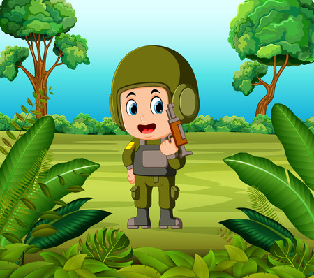 a soldier carrying a gun at the jungle  イラスト・ベクター素材