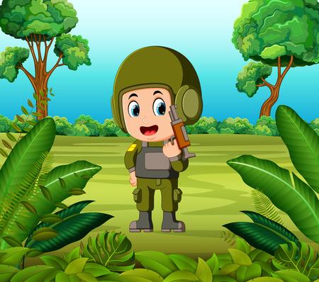 ジャングルで銃を持った兵士