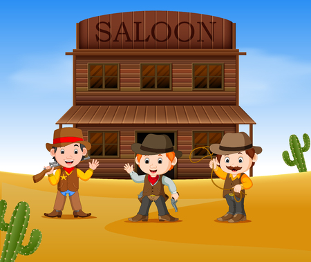 three cowboys holding gun and standing outside the saloon Illustration