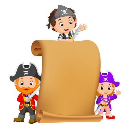 a treasure map and three pirate Illustration