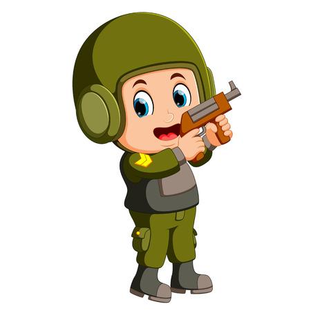 soldier with handgun