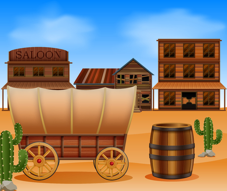 Western town with wooden wagon