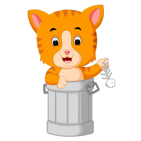 Cat in trash cartoon Illustration