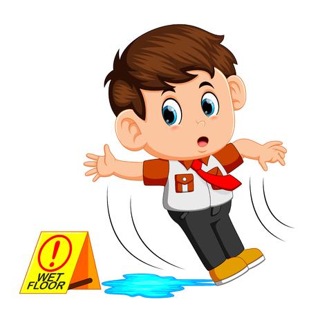 boy slipping on wet floor Stock Illustratie