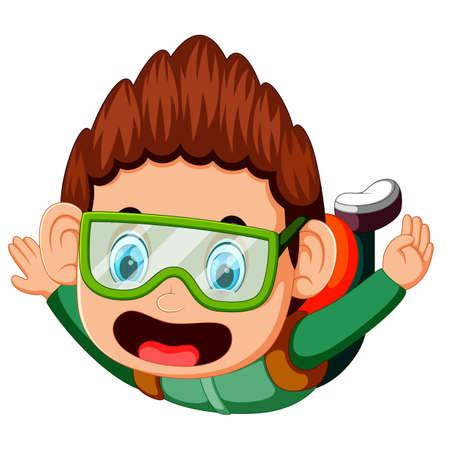 Skydiver falls through the air Illustration