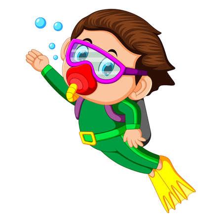 niño feliz buceando Ilustración de vector