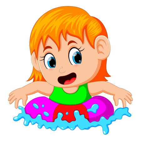 Cute little girl floating in a ring in a swimming pool