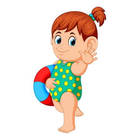 Chica con anillo de flotación