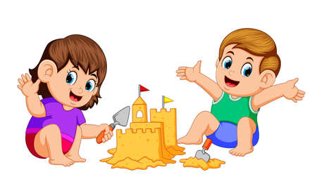 boy and girl making a big sandcastle at beach Vettoriali