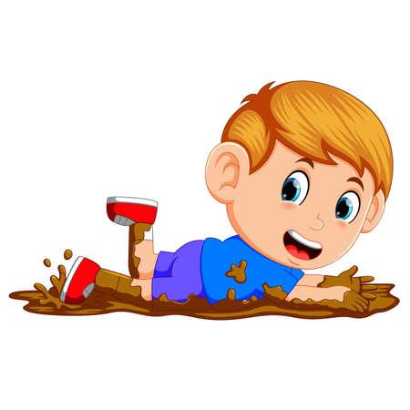 cute boy playing in the mud