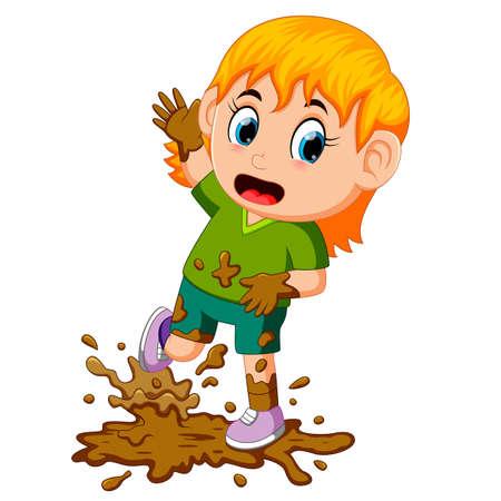 Petite fille jouant dans la boue